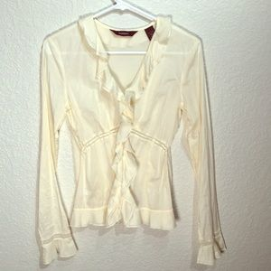 Express 100%cotton Blouse with lace and ruffles